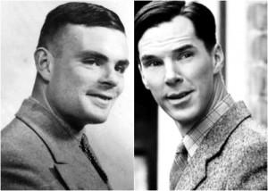 """Il vero Alan Turing e l'attore inglese Cumberbatch, che lo interpreta in """"The Imitation Game"""""""