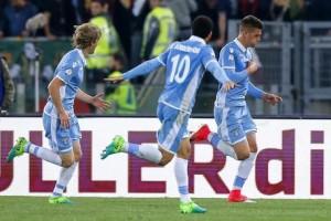 L'esultanza dei giocatori della Lazio al gol di Milincovic - Savic