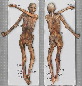 Le zone della mummia dove si trovano i tatuaggi