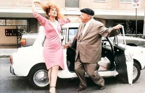 La bianchina insieme a Paolo Villaggio ed Anna Mazzamauro